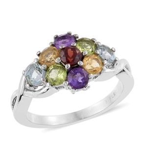 Jewelry - Multi Gemstone Stainless Steel Ring (Size 7.0) TGW